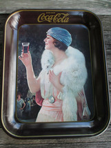 Coca-Cola 1973 Party Flapper Girl Blue Hat Metal Serving Tray Coke Vintage - $9.85