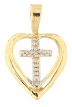 Heart/cross Unisex 14kt Yellow Gold Charm - $59.00