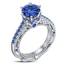 Art Deco Womens Designer Engagement Ring 14k White Gold Finish 925 Solid Silver - £60.04 GBP