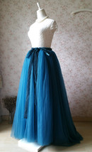PEACOCK BLUE Extra Long Women's Tulle Puffy Skirt High Waist Tulle Bridal Skirt