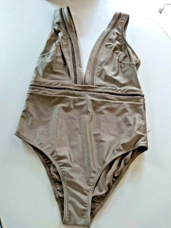 Ted Baker London Pointelle Deep V Khaki One Piece SwimSuit Size 5/ XL US