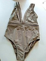 Ted Baker London Pointelle Deep V Khaki One Piece SwimSuit Size 5/ XL US image 1