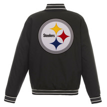 NFL Pittsburgh Steelers Poly Twill Jacket Black  With Two Patch Logos  JH Design - $129.99