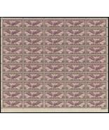 C16, Mint VF-XF Sheet of 50 5¢ Airmail Stamps Brookman $500.00 - Stuart ... - $350.00
