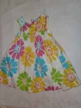 Carters Baby Girl Summer Flower Bright Citrus Color Sun Dress Sundress 6-12 Mos - $14.84