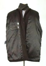 Marc Ecko Leather & Wool Heavy Bomber Jacket Brown Varsity Style Button Mens XL image 5
