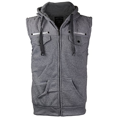 EKZ Men Casual Zip Up Hooded Sports Fashion Vest EK1645VK (Large, Heather Gray)