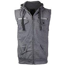 EKZ Men Casual Zip Up Hooded Sports Fashion Vest EK1645VK (Large, Heather Gray)