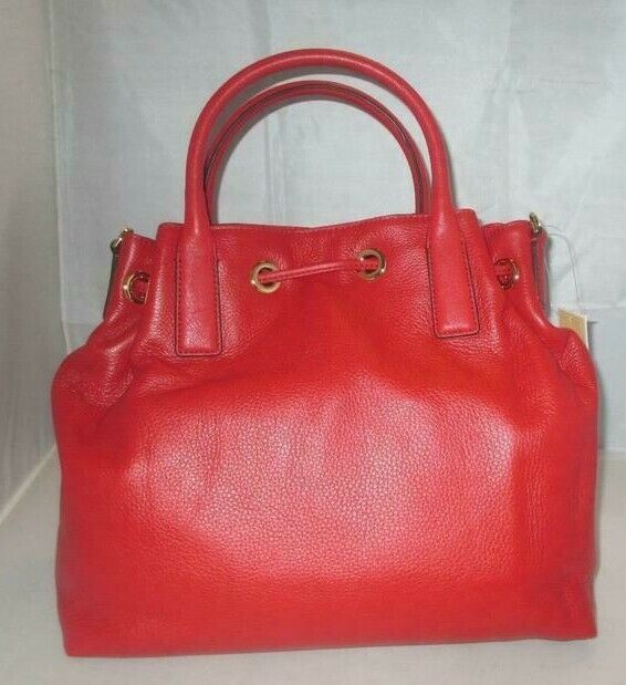 MICHAEL KORS CAMDEN LEATHER DRAWSTRING RED GOLD CROSSBODY LARGE SATCHEL BAG NWT image 8