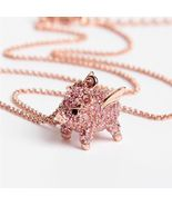 Kate Spade Rose Gold imagination pave pig mini pendant necklace w/ KS Du... - $32.99
