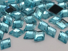 10x7mm Blue Aqua Lite .QR120 Flat Back Diamond Acrylic Gems -100 Pieces - $5.37