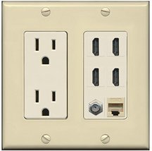 RiteAV 15A Power Outlet, 4 HDMI, 1 Cat5e Ethernet, 1 Coax Cable TV Wall ... - $36.61