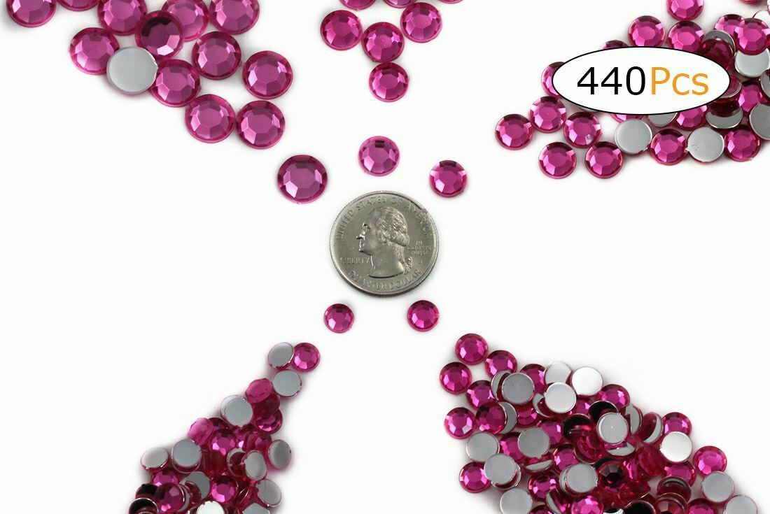 Acrylic Rhinestones Flat Back Pink Hot Mixed 5 Sizes 440 Pcs For DIY Crafts