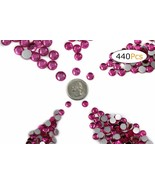 Acrylic Rhinestones Flat Back Pink Hot Mixed 5 Sizes 440 Pcs For DIY Crafts - $14.20