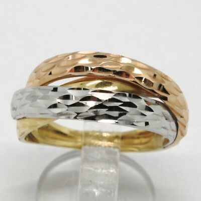 18K YELLOW ROSE & WHITE GOLD BAND RING FINELY WORKED TWISTED BRAID MADE IN ITALY