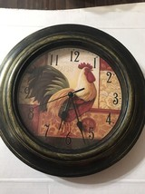 """Rooster Wall Clock French Motif 11"""" Battery Operated Farm Animal Decor - $22.46"""