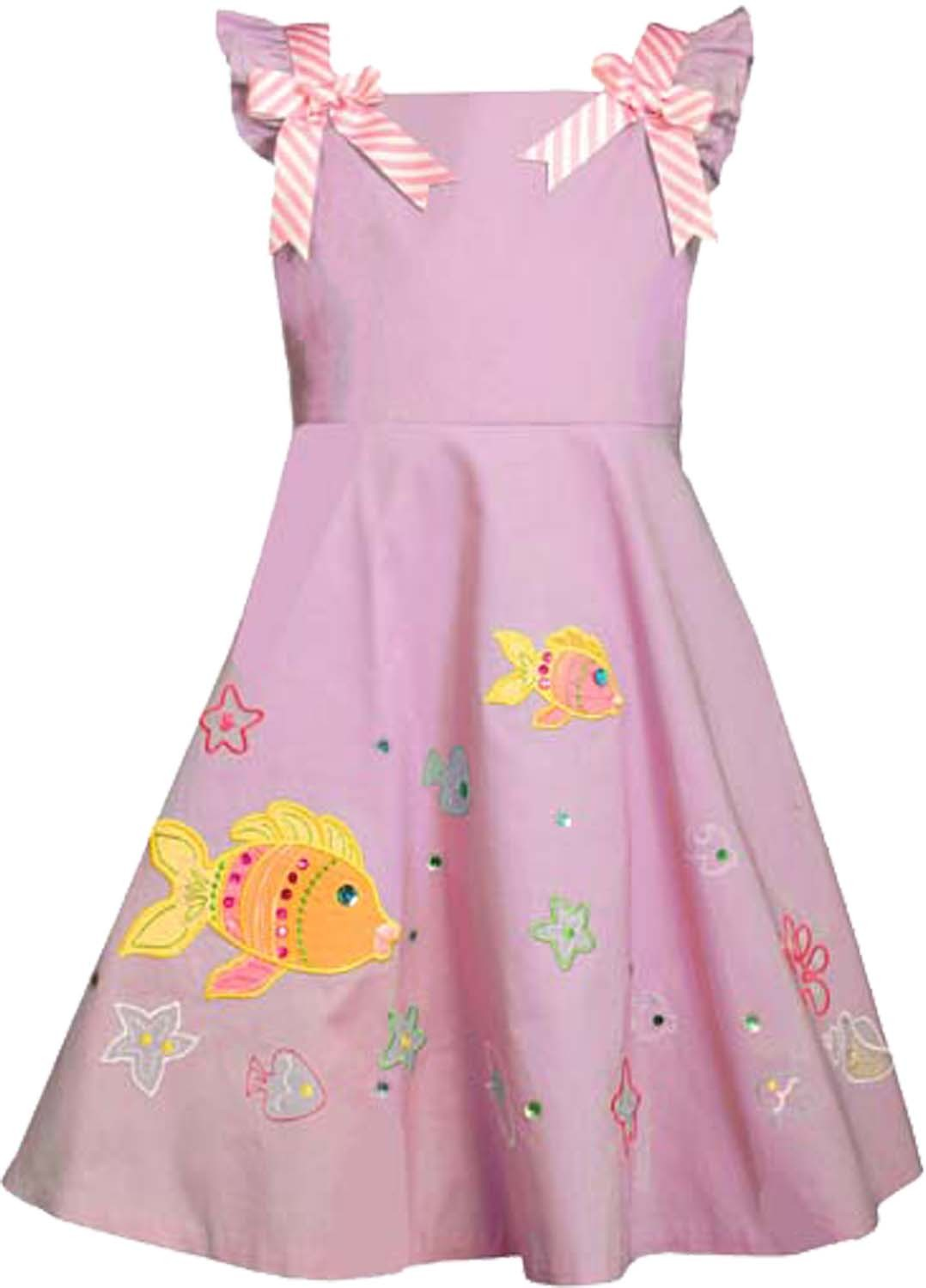 Bonnie Jean Little Girl 2T-6X Pink Fish Applique Fit Flare Cotton Dress