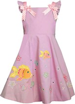 Bonnie Jean Little Girl 2T-6X Pink Fish Applique Fit Flare Cotton Dress image 1
