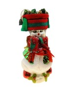 "Thomas Pacconi Large Glass Snowman Ornament 8"" Christmas Scarf Hat Presents - $9.75"