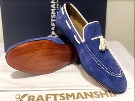 Handmade Men's Blue Suede Slip Ons Loafer Dress/Formal Shoes image 11