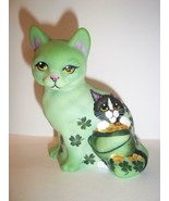 Fenton Glass Green St. Patrick's Day Sitting Cat Tuxedo FAGCA Excl Ltd E... - $222.62