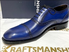 Handmade Men's Blue Leather Lace Up Dress/Formal Oxford Shoes image 4