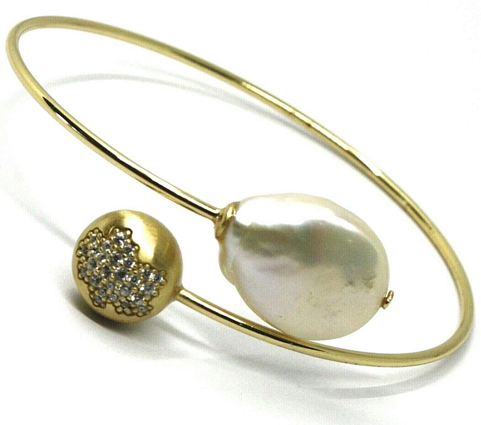 SOLID 925 STERLING SILVER BANGLE BRACELET, ZIRCONIA NUGGET AND DROP PEARL
