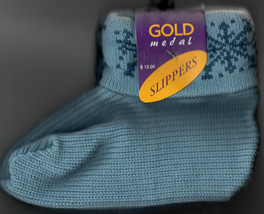 Slipper Socks, Blue With Snowflake Design, One Size, By Gold Medal, New - $9.99