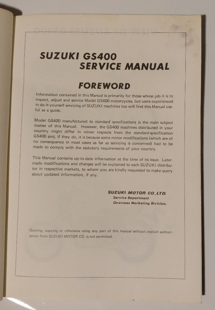 Suzuki Gs400 Manual Ford Yt16h Wiring Diagram Array Gs 400 Service And 10 Similar Items Rh Bonanza Com