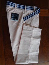 NWT Izod 38X32 Plain Front Newport Oxford Belted  Pants  Peach $74.msrp - $24.30