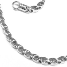 SOLID 18K WHITE GOLD CHAIN, 20 INCHES, 3 MM DROP TUBE LINK, POLISHED NECKLACE image 2