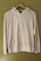 NWT Juicy Couture White Angel Velour Nailhead Hoody Gold Signature Jacket M $128 - $64.00