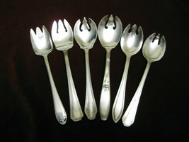 Lot of 6 Assorted Silverplate Ice Cream Forks  - $59.39