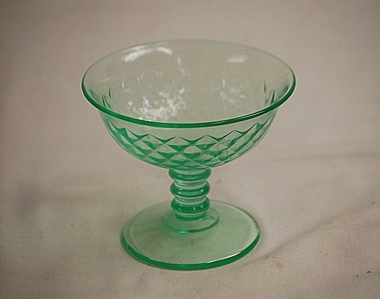 Vintage Diamond Quilted Green by Imperial Depression Glass Parfait Sherbet Dish - $16.82