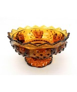 Fenton Art Glass Candle Bowl, Amber Hobnail, Sawtooth Rim, Footed Base, #FNT217 - $24.45