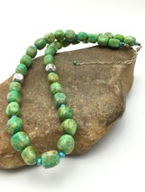 "Native American Sterling Silver Green Turquoise/Magnesite Necklace 19"" 4497 - $203.74"