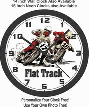 FLAT TRACK RACING MOTORCYCLE WALL CLOCK-NEW!-Free USA Ship - $29.69+