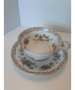 Noritake Somerset  Lot of 2 sets  Footed Cup & Saucer Porcelain White & Pink - $14.84