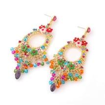 Fashion Bohemian Hoop Earrings - Multicolor - $12.99
