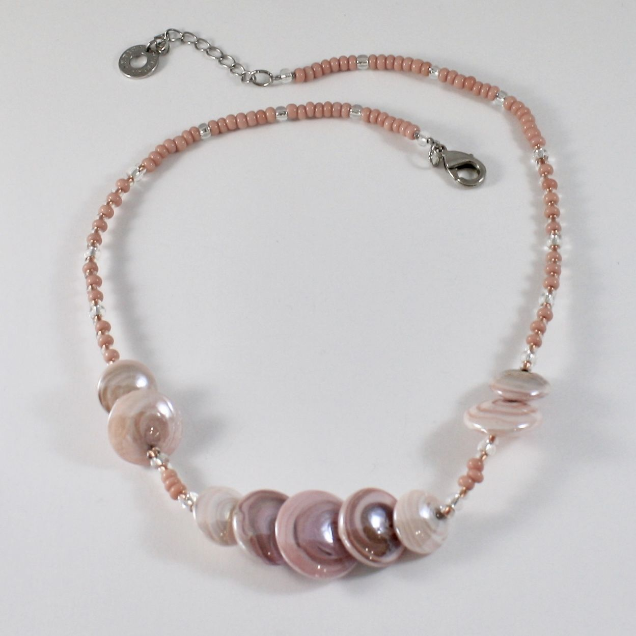 ANTICA MURRINA VENEZIA NECKLACE WITH BIG PINK MURANO GLASS DISCS, SIZABLE