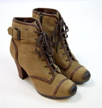 GIANI BERNINI Burnished Brown Suede Leather High Heel Ankle Boots Cap To... - £18.88 GBP