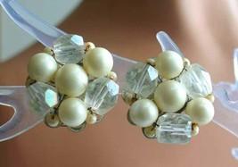 "Elegant Faux Pearl & Cut Glass Silver-tone Clip Earrings 1960s vintage 1"" - $12.30"
