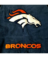 NFL Denver Broncos Full Leather Suede Jacket-M-Blue Black Varsity Bomber... - $108.54