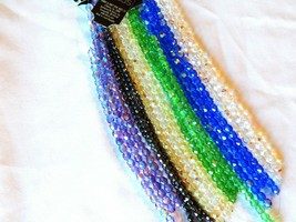 CZECH FIRE POLISHED AB BEADS 7 IN. STRANDS 4-7 MM-CRYSTAL, GREEN, PURPLE... - $3.75