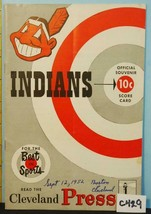 1952 Cleveland Indians Program v Boston Red Sox Unscored C429 - $48.51