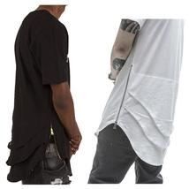 Side Zipper Extended  Mens Hip Hop Beetle tail long T Shirt Tee Stitching Kanye
