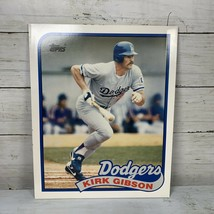 1989 Topps Kirk Gibson Dodgers Baseball Card #340 Pocket Folder Portfoli... - $2.99