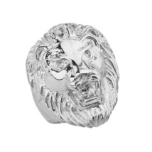 Solid Sterling Silver Large Lion Head Mens Statement Ring - £76.04 GBP