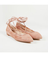 """Gianvito Rossi NWT """"Praline"""" Pink Suede Lace Up """"Femi"""" Pointed Flats SZ ... - $220.00"""
