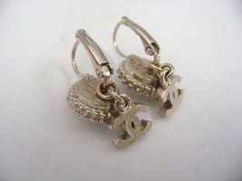 Authentic Chanel CC Logo Pearl W/ Crystal Simple Dangle Hook Earrings image 6